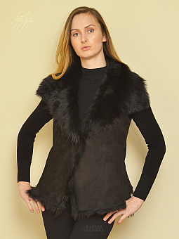 Higgs Leathers SOLD!  Gisella (ladies Black Toscana Shearling gilet)