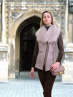 Higgs Leathers SOLD! LAST ONE SAVE £200!  Lala (ladies Beige Designer Shearling gi