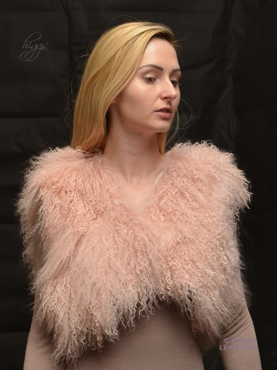 Higgs Leathers {ONE ONLY HALF PRICE!}  Omee (shorter length Pink Mongolian Lamb gilet)