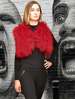 Higgs Leathers NEW!  Omee (short cropped Red Lambskin gilet)
