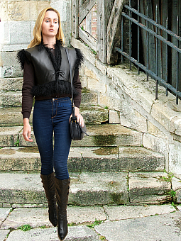 Higgs Leathers LAST ONE HALF PRICE!  Omegaz (ladies Black Mongolian Lamb gilet)