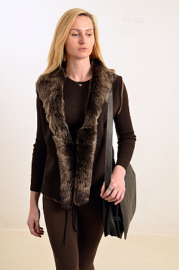 Higgs Leathers SOLD!  Sophia (ladies Toscana trimmed Shearling gilet)