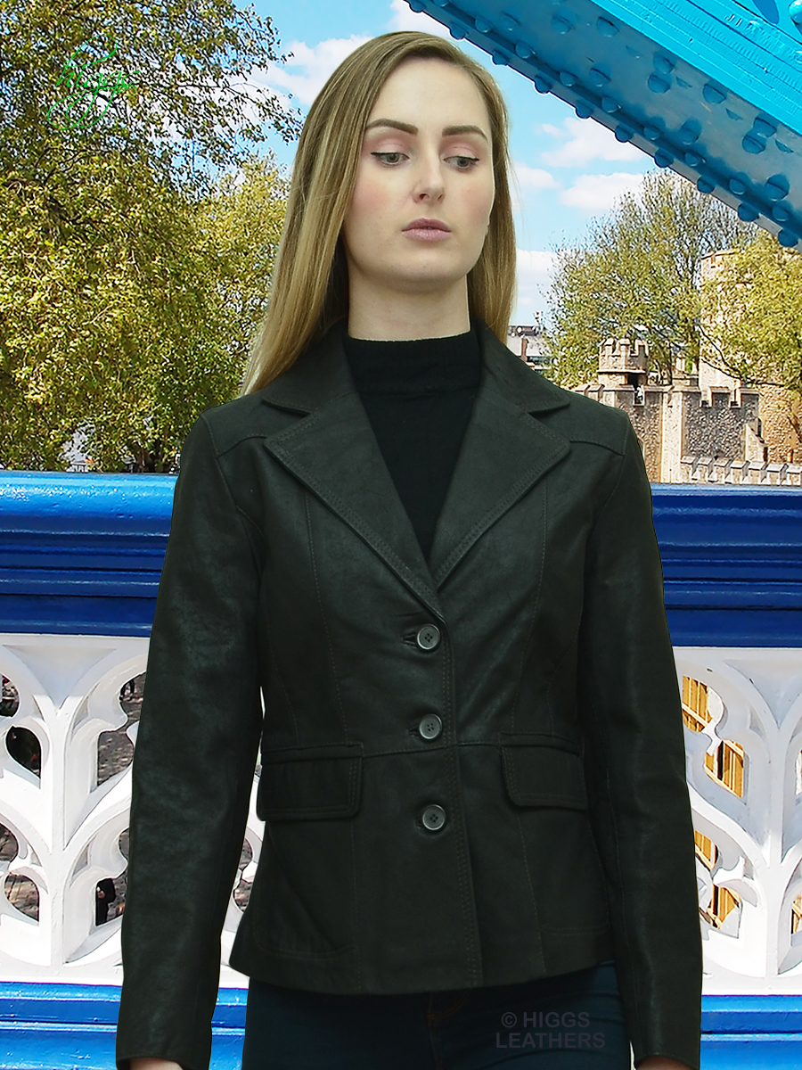 Higgs Leathers {NEW!}  Berry  (ladies fitted Black Leather Blazer jacket) Super value!