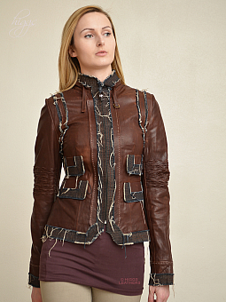 Higgs Leathers SAVE £150!  Monika (Designer Brown Leather short jacket)