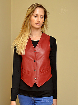 Higgs Leathers NEW!  Roxie (ladies Red Leather waistcoat)