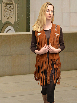 Higgs Leathers ALL SOLD!SAVE £40!  Shawnee (Fringed tan suede long Gilet)