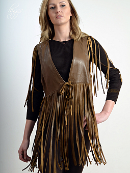 Higgs Leathers HALF PRICE!  Wallace (ladies Fringed Brown Leather Gilet)