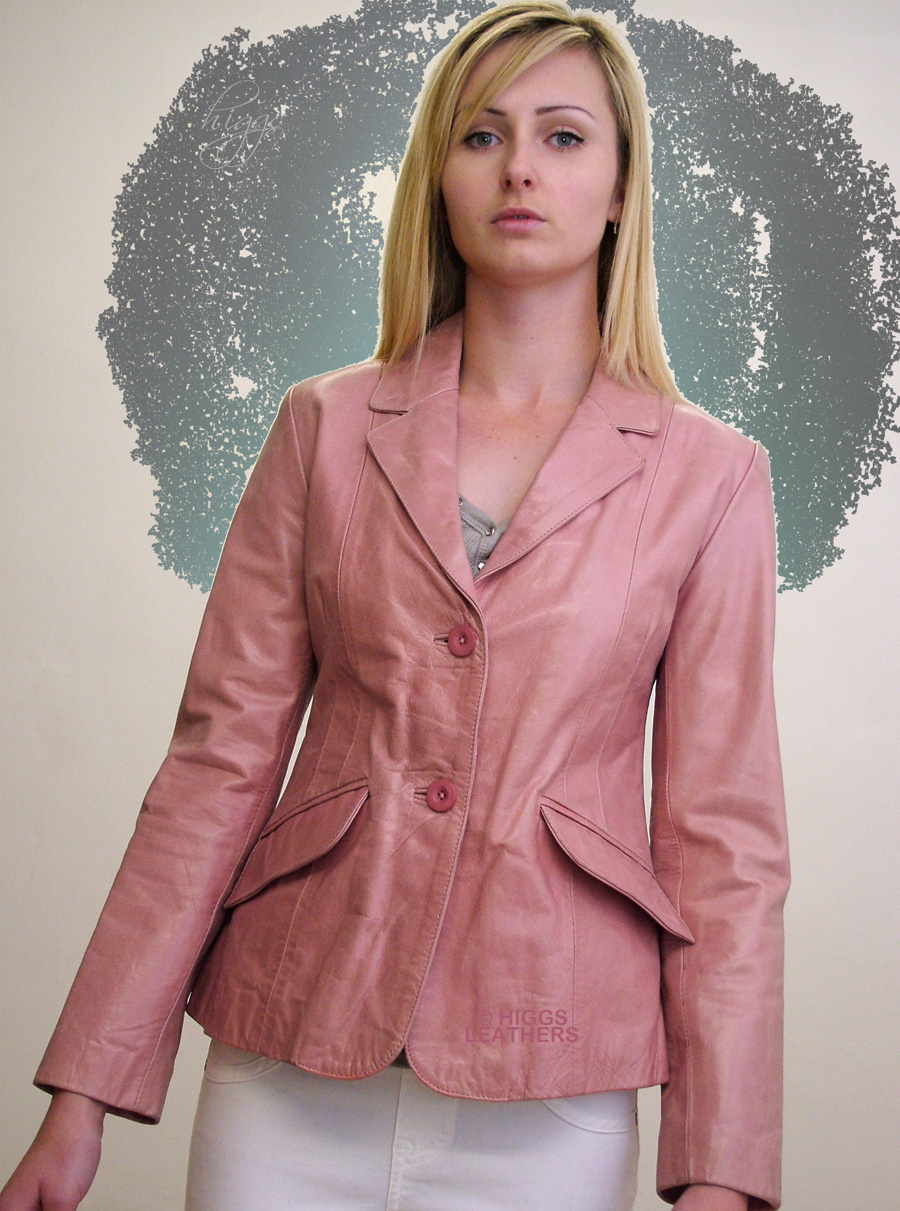 Higgs Leathers {UNDER HALF PRICE!}  Inthe (ladies Pink Leather Blazer jacket) ONE ONLY - SHOP SOILED