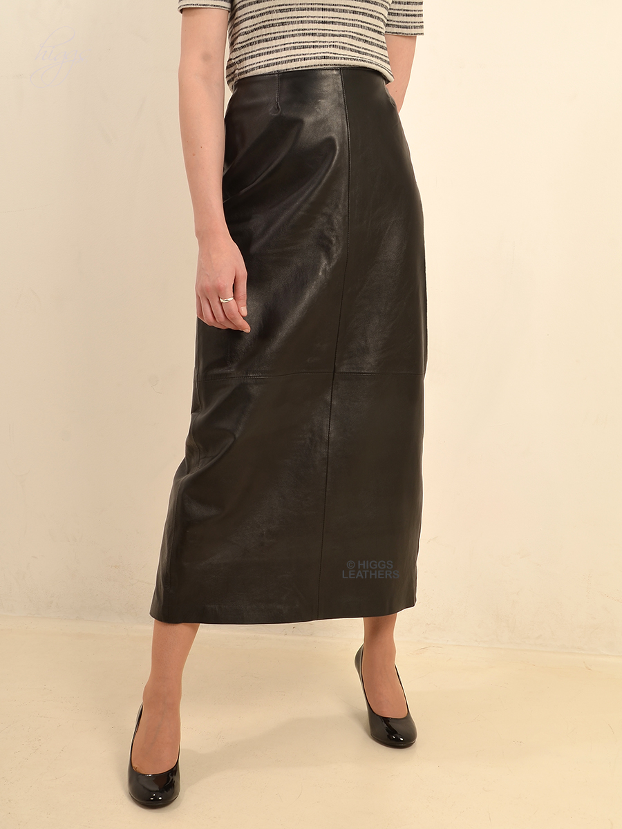 f73376d126 Higgs Leathers Bettine (Mid calf length ladies Black Leather skirts)