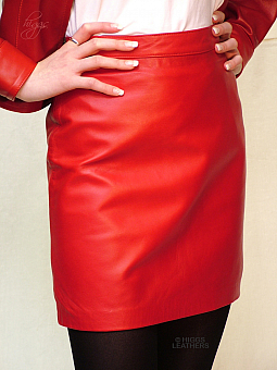 Higgs Leathers {26' to 40' waist}  Penelope (ladies Red Leather skirt) SLIMLINE RED LEATHER SKIRT!