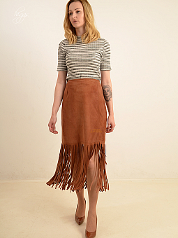 Higgs Leathers HALF PRICE SAVE £100!  Wallace (ladies Fringed Tan Suede long skirt)