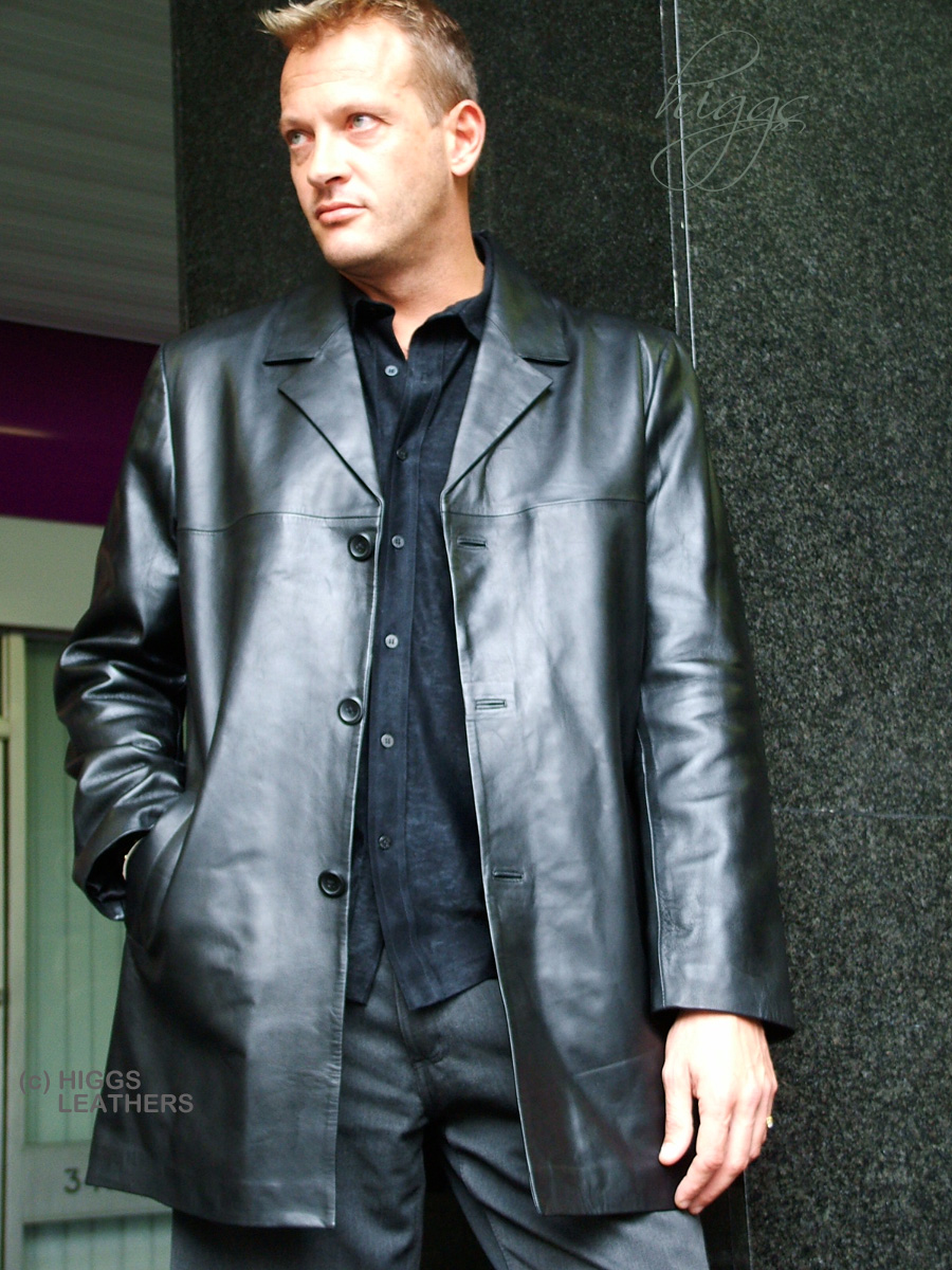 Higgs Leathers 38' to 52' chest  Silas (men's Black Leather long  jacket)