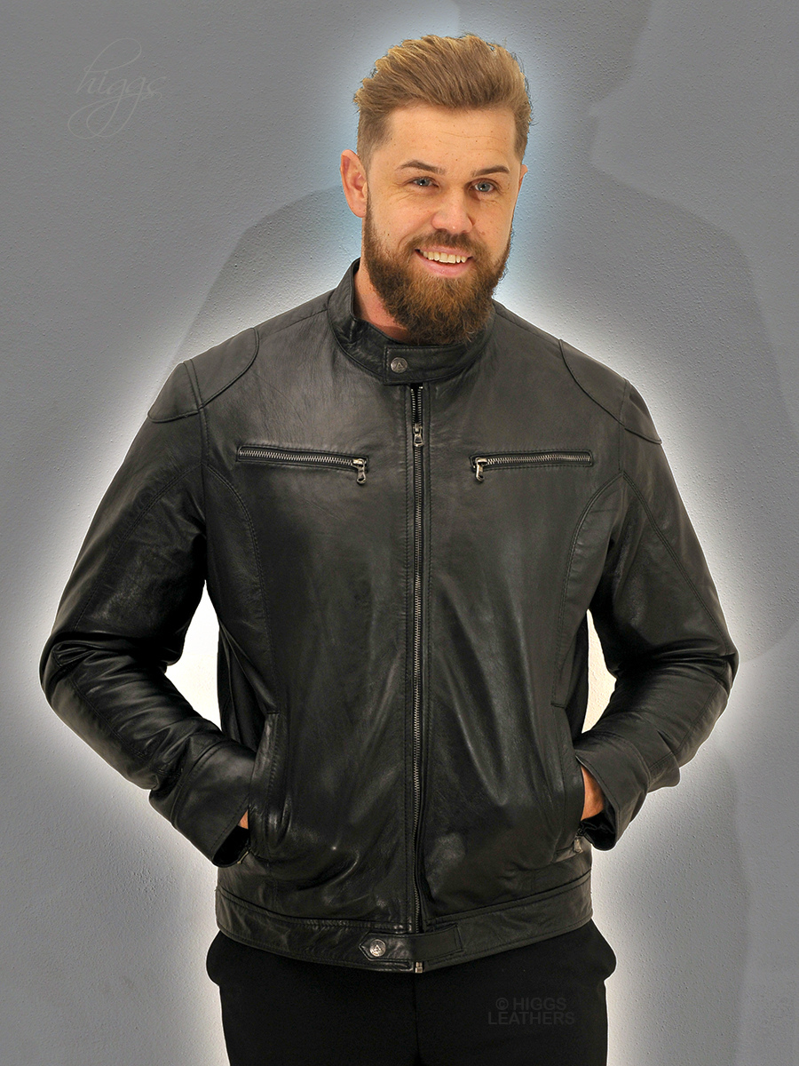 Higgs Leathers {50' chest LAST ONE!}  Baccus  (men's Black Leather Biker jacket)