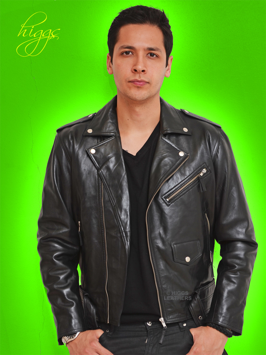 Higgs Leathers {36' to 46' chest}  Brandex (men's Black Leather Biker jacket)