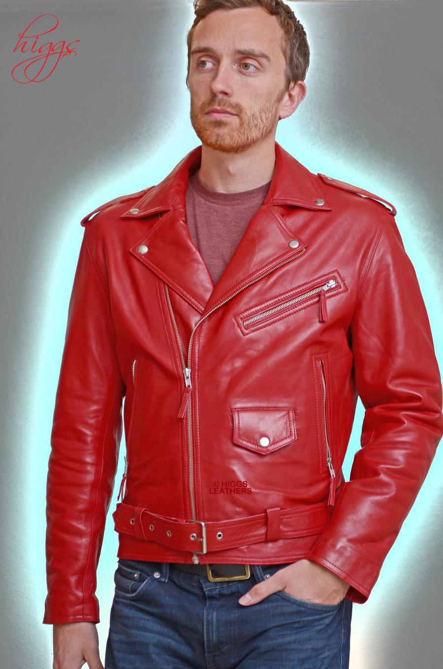 Higgs Leathers Buy Stock Brandex Men S Red Leather Biker Jackets