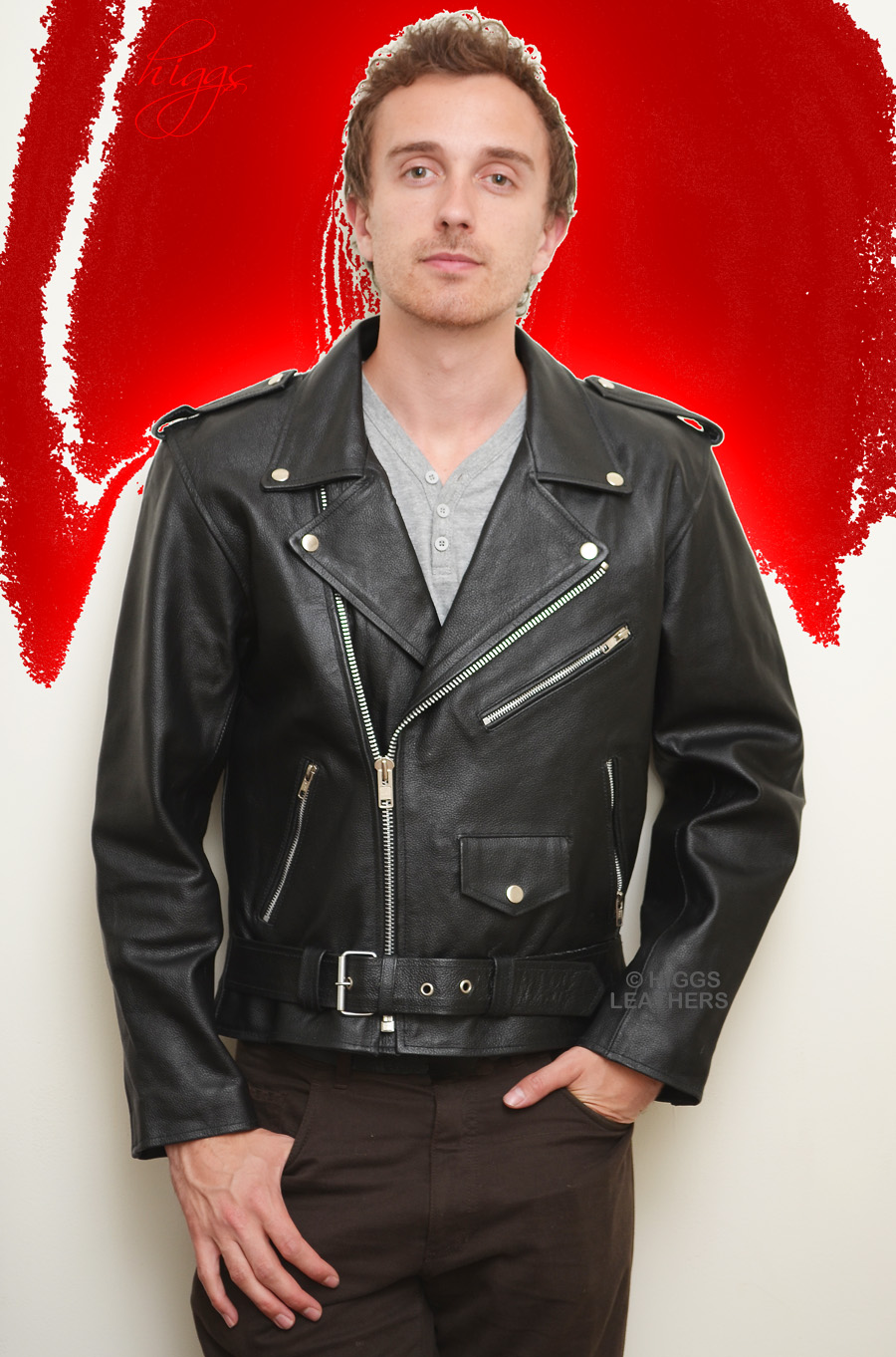 Higgs Leathers {ONE ONLY SAVE £40!}  Brando (motorcycle Black Leather jacket for men) INCREDIBLE VALUE!