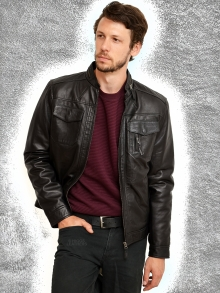 Higgs Leathers ALL SOLD! Brent (men's Black Leather Biker jackets)