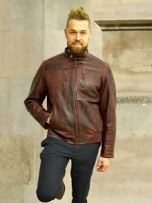 Higgs Leathers NEW!  Curtis (men's Burgundy Leather Biker jacket)