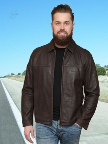 Higgs Leathers Duke (mens Antique Brown Matt Leather Jasper jacket)