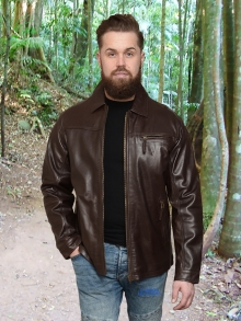 Higgs Leathers Earle (mens Dark Brown Leather Jasper jacket)