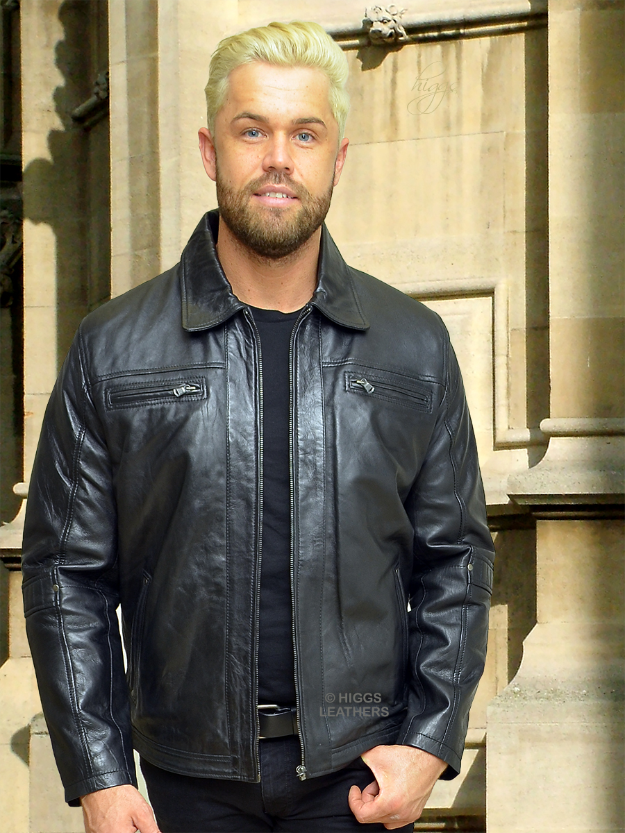 Higgs Leathers {LAST ONE!}  Lennox (men's Black Leather Biker jackets) LIMITED OFFER WHILE STOCKS LAST!