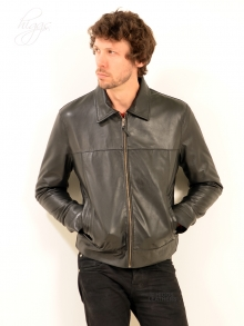 Higgs Leathers {LAST FEW!}  Levett  (men's Black Leather Jeans jackets)