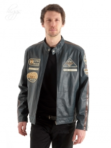 Higgs Leathers ALL SOLD!  Buzzer (men's Navy Leather Biker jackets)