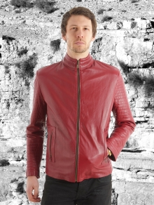 Higgs Leathers NEW!  Paddo (men's Red Leather Biker jackets)