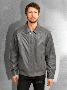 Higgs Leathers LAST FEW!  Charles (blouson style Grey Leather jackets for men)