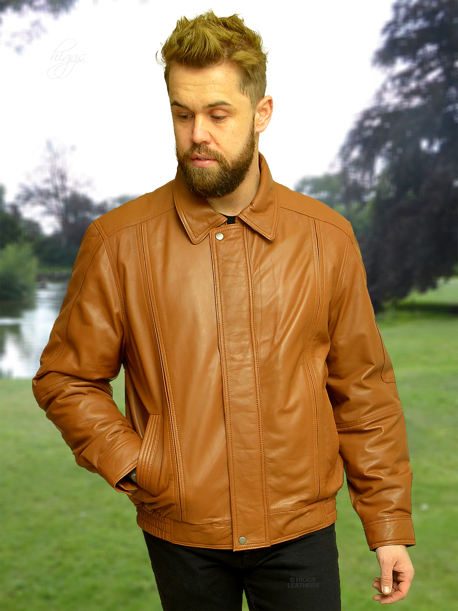 Higgs Leathers {LAST FEW!}  Charles (blouson style Tan Leather jacket for men)