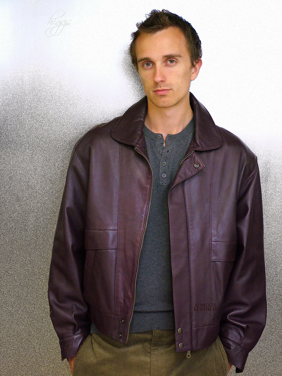 Higgs Leathers LAST TWO SAVE £100! Kurt (men's Burgundy Leather Blouson jackets)  From our wide range of Leather Blouson jackets for men.