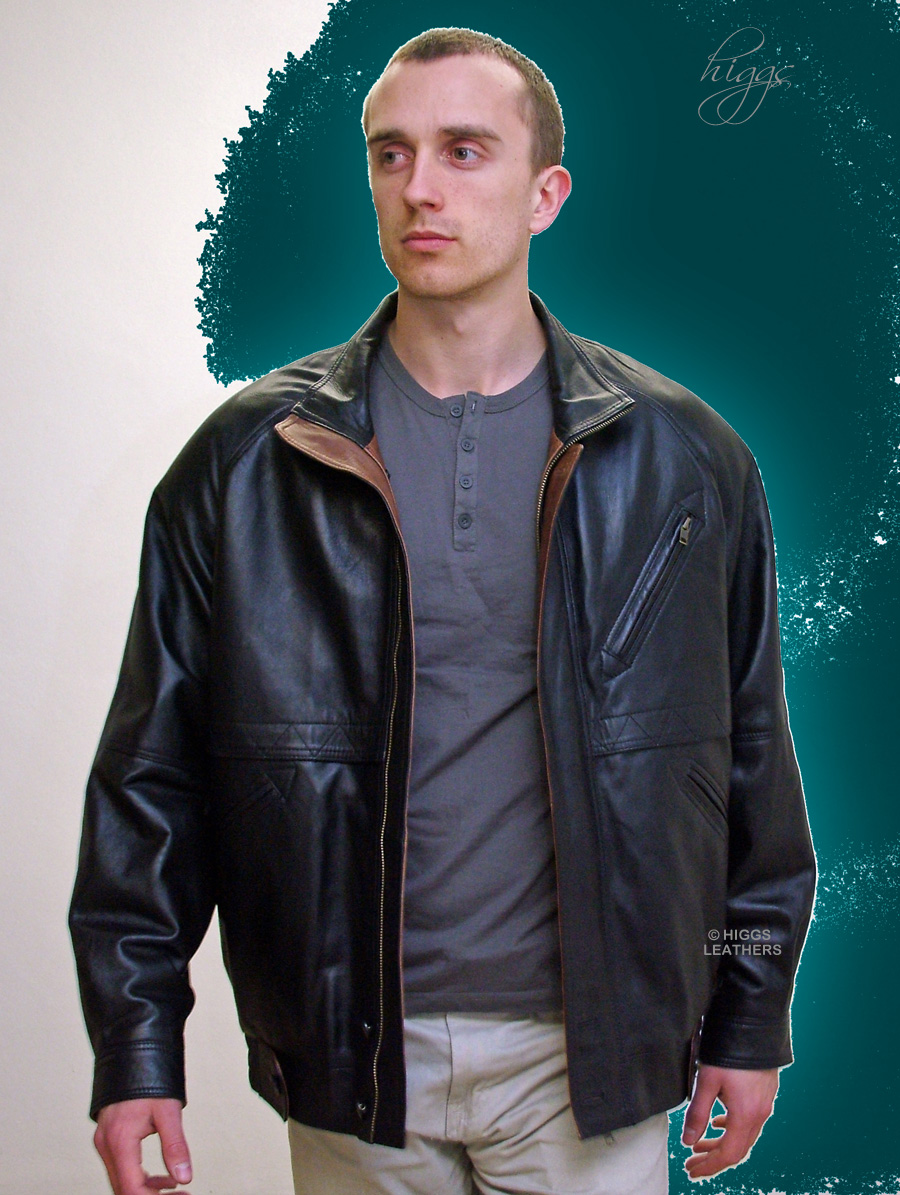 Higgs Leathers {ALL SOLD!}  Zarak (men's Designer Black Leather Blouson jackets SIZES UP TO 50' CHEST!