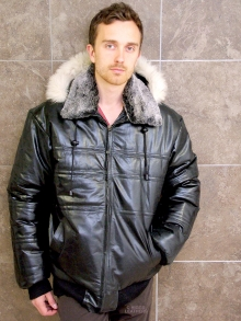 Higgs Leathers ONE ONLY!  Bernon (men's Hooded Black Leather Bomber jackets)