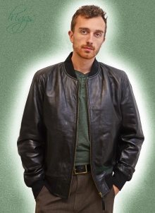 Higgs Leathers LAST FEW!  Brandon (Black Leather Bomber jackets for men)