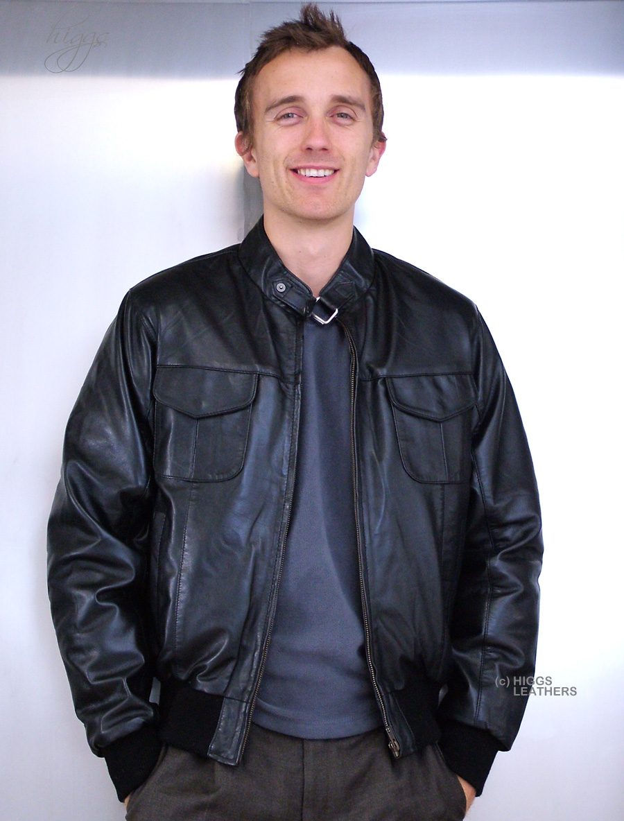 Higgs Leathers {LAST FEW!}  Hodder (mens black leather bomber jackets)
