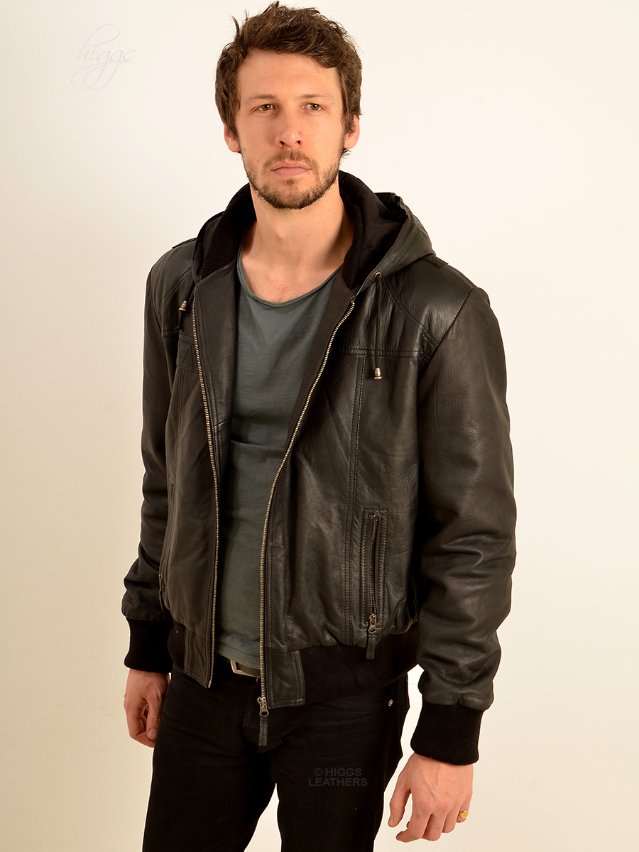 Higgs Leathers {NEW!}  Holtez (men's Hooded Black Leather Bomber jackets)