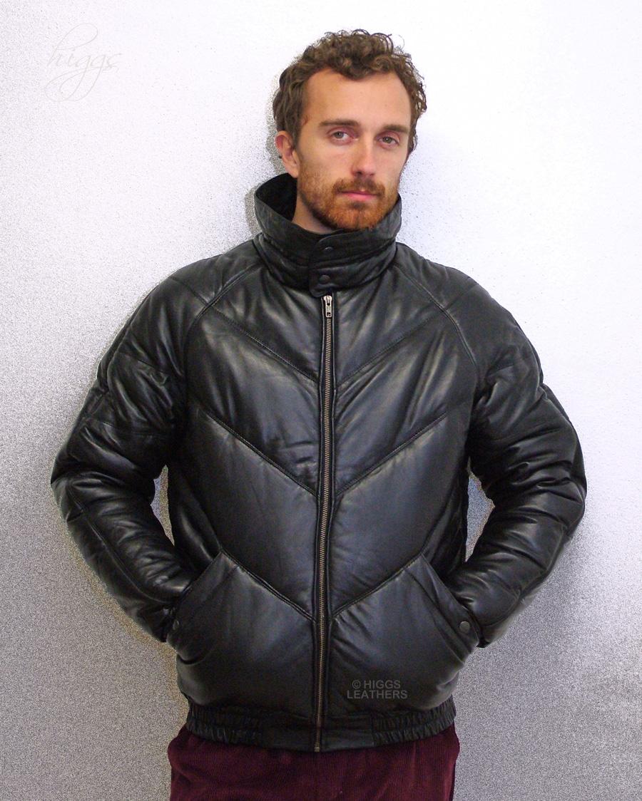 0371acc0d7c (men s Black Leather Puffa jackets)