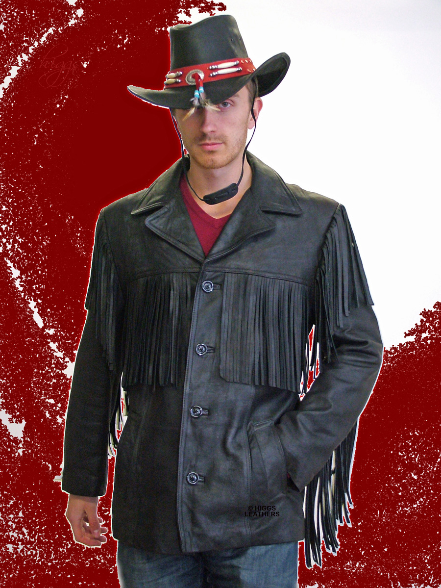 Higgs Leathers {36' to 46' chest}  Wyatt (men's fringed leather Cowboy jacket)