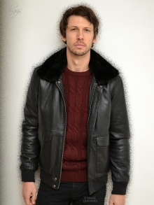 Higgs Leathers Avenger (A2 Black Leather/Sheepskin Bomber  jacket)