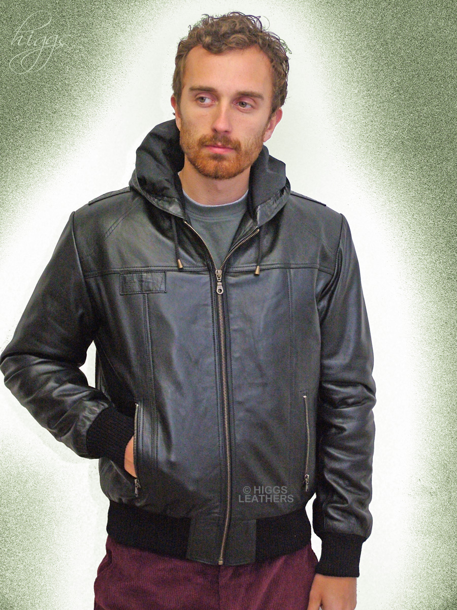 Higgs Leathers {LAST FEW!}  Holt (hooded Black Leather Bomber jacket) Special quality hooded leather jackets for men!