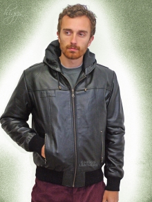 Higgs Leathers LAST FEW!  Holt (hooded Black Leather Bomber jacket)
