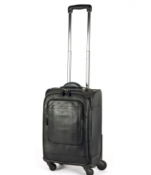 Higgs Leathers {NEW!}  Melbourne (Black Leather Wheelie Trolley bag)