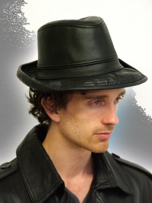 Higgs Leathers WHITE ONLY!  Fedor (men's stitched brim Fedora leather hats)