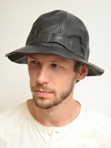 Higgs Leathers LAST FEW!  Mercer (soft brim black leather hats for men)