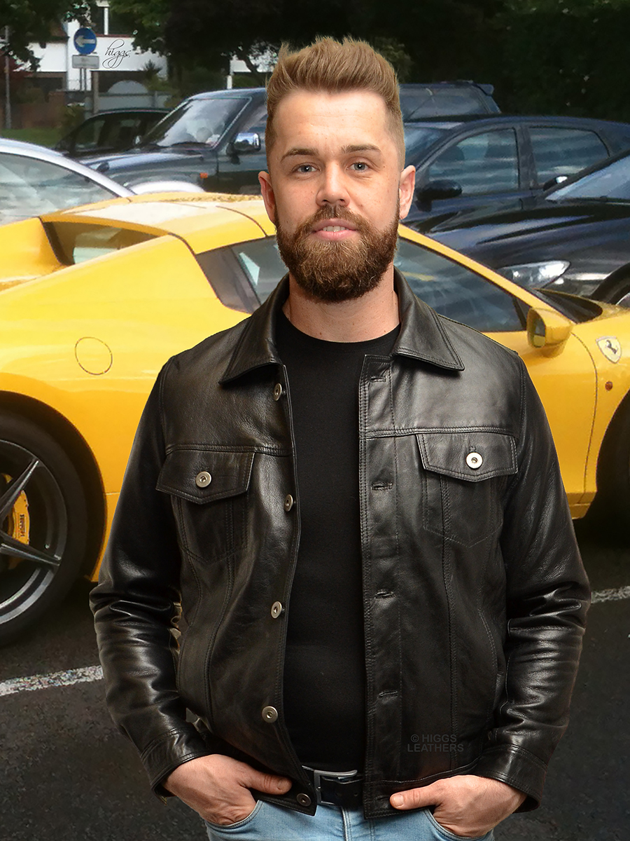 Higgs Leathers {LAST FEW SAVE £40!}  Marlon (men's Black Leather Jeans jacket)