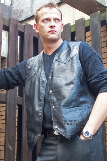Higgs Leathers SOLD!Jake (men's black Leather waistcoat)