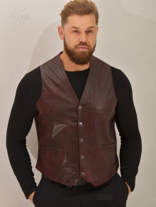 Higgs Leathers LAST TWO! Jake (men's burgundy Leather waistcoat)