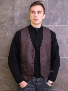 Higgs Leathers LAST ONE!  Ronnie (men's Antique Brown Nubuck waistcoats)