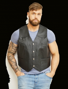 Higgs Leathers SOLD!  Tracker (Black Leather vests for men)