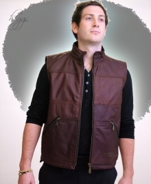 Higgs Leathers SOLD!  Veddie (men's brown Leather Vest)
